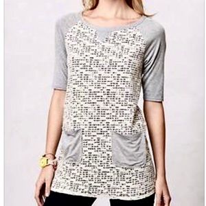 Anthropologie lace layered boho textured t-shirt